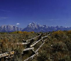 Grand Teton mountain range with split rail fence in foreground and blue sky