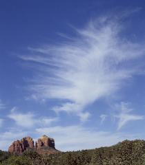 photograph of Sedona, Arizona's Red Rock's with huge angel clouds