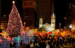 Photograph of the lighting of the Christmas lights on Cleveland's Public Square, Ohio
