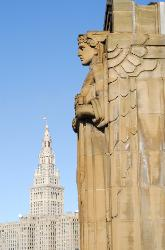 Guardian statue on Cleveland, Ohio's Lorain Carnegie Bridge with Terminal Tower in background