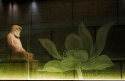 Chung Tai Chan Monastery in Taiwan - Buddha statue reflection with lotus flower glass etching on wall