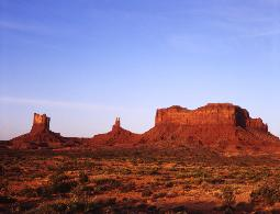 photograph of Monument Valley red rock formations in the early light of morning
