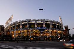 Photo of Progressive Field in Cleveland, Ohio with the Goodyear Blimp above.