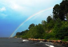photograph of a rainbow over Lake Erie and trees