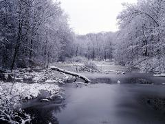 winter icy scene in the Rocky River State Park, Ohio