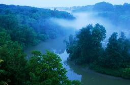 photograph of the Rocky River in the north Rocky River Reservation from Riverside Drive (200' from the river) with steamy fog in the valley