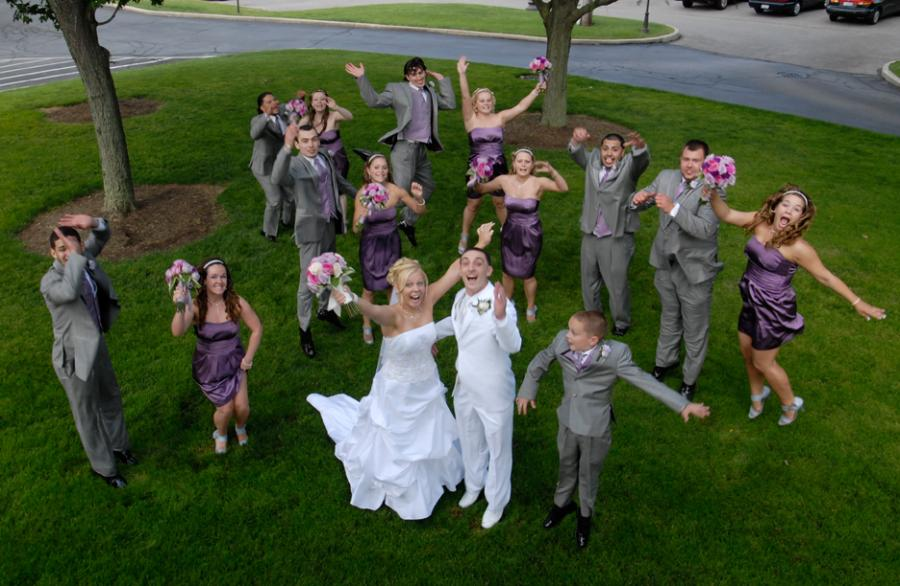Bridal party jumping for joy1