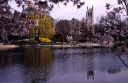 Photograph of the reflectnig pond of the Cleveland Museum of Art in Spring with flowering trees and the Amasa Stone Chaple in the background