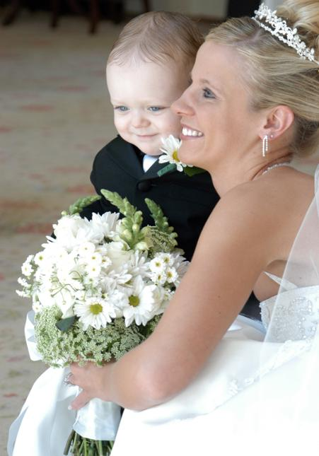Bride and little boy ring bearer